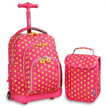 Trolley Bag Pink Buttons + Lunch Bag